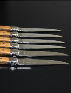 6 stk. Jean Dubost Laguiole biffkniver i Oliventre.